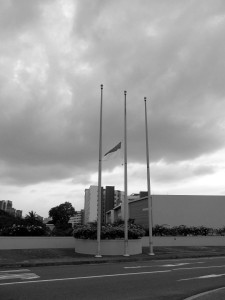 The state colours flew half mast at school